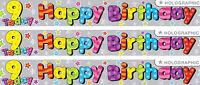 9TH BIRTHDAY/ AGE 9 BIRTHDAY MULTI COLOUR FOIL BANNERS GIRL OR BOY (EW)