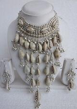 Statement Sea Shell Chunky Choker Necklace Earrings Boho Gypsy Fashion Jewelry