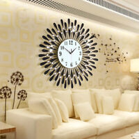 60CM CLEAR DIAMANTE BLACK SUNFLOWER METAL SPIKED WALL CLOCK BEADED JEWELED NEW