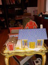 OLD VINTAGE CARDBOARD DOLLHOUSE JUDY'S#206 FARM BUILDINGS BARN DOLL HOUSE LOT