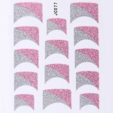 Nail Art Decal Stickers Glitter Nail Tips Half & Half Pink Silver Wedge JC077