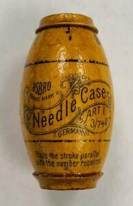 1890s Antique ASBRO German Barrel Figural Wooden Needle Case Dispenser