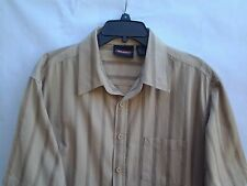 Men's DICKIES XL 100% Cotton Casual Short Sleeve Striped Embroidered Cocoa Brown