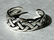 Medium Double Celtic Weave Braid Adjustable Solid Sterling Silver 925 Toe Ring