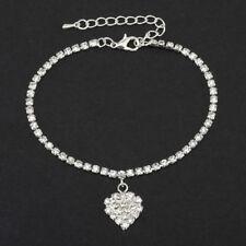 1pcs Silver Womens Crystal Rhinestone Heart Chain Pendant Bracelet Anklet Ankle
