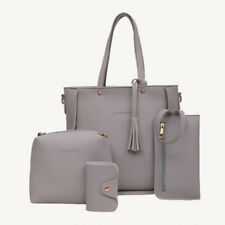 New 4PCS Women Leather Handbag Shoulder Bag Messenger Satchel Tote Purse Bag Set