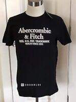 NWT Abercrombie & Fitch Men's SHORT-SLEEVE LOGO TEE, Black, Medium
