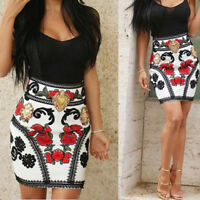 Women's Floral Stitching Mini Dress Summer Bodycon Evening Cocktail Party SH