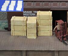 #H043 HO Plaster Wood Crates 12pcs HOn3 Produits MP diorama Caisse de bois