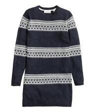 H&M  S  WOLLE ALPAKA Jacquard STRICKKLEID PULLOVER BLUE WOOL KNIT DRESS JUMPER