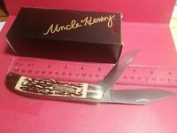"Lot 218 Schrade's UNCLE HENRY 227UH Large 5"" 2-Blade Stockman Knife w/Sheath"