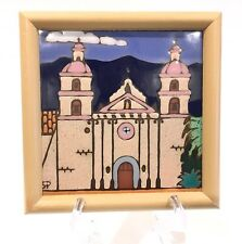 Mission Santa Barbara - Tenth Mission Hand Painted Ceramic Tile by Elany Framed