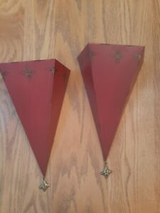 Triangle Shape Metal Burgundy Wall Hanging Sconce/Shelves. Very Unique & Ornate