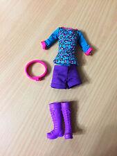 Barbie Doll Teen Sister Skipper Outfit Cloth Purple Short Top Belt Shoe Boot Lot