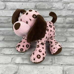 Baby Ganz Puppy Dog Pink Brown Rattle ABC Alphabet Plush Animal 9 Inches