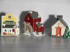 Village Ceramic Houses Cottage, Water Mill, Church w Tea Light Candle