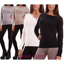 Pullover donna maglione aderente maglia basic maniche lunghe nuovo FZ-6957
