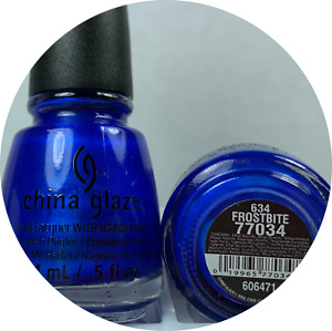 China Glaze Nail Polish FROSTBITE 634 Vibrant Bright Metallic Royal Blue Lacquer