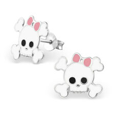 925 Sterling Silver Candy Skull & Cross Bones Pink Bow Stud Earrings & Gift Box