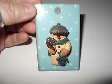 3-D Resin Snowman Fashion Pin with Bird and Bird House New!