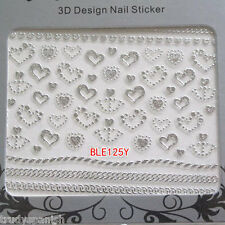 Valentines Nail Art Sticker Decals Transfers SILVER Bling Bows Hearts Lace 125