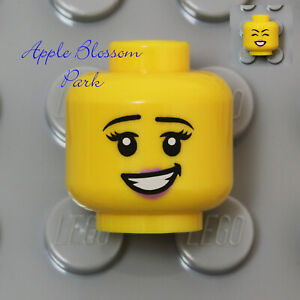 NEW Lego Female Girl MINIFIG HEAD w/Pink Lips Big Happy Smile & Black Eyelashes