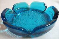 Vintage ASHTRAY Turquoise Aqua Blue Heavy Glass Stippled Bubble Bottom MCM