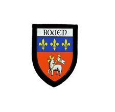 Patch printed embroidery travel souvenir shield crest city france flag rouen