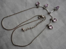 "Beautiful lilac glass heart + clear crystal 9 gram silverplated 16-18"" necklace"