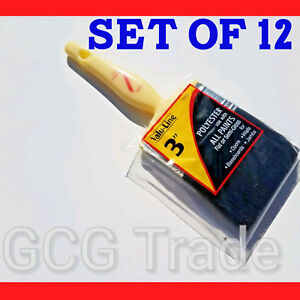 """12 of 3 Inch Paint Brushes Economy Polyester Linzer All Tips of Paints Size 3"""""""