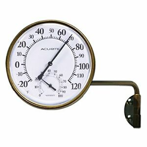 Wireless Indoor and Outdoor Thermometer Brass Swing Arm Metal Mounting Vintage