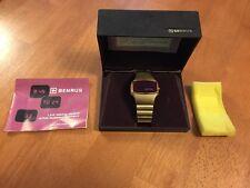 Vtg Mens Gold Tone 41mm Benrus LED Day Date Watch NOS New w/Box New Batt's Mint