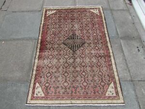 Vintage Hand Made Traditional Oriental Wool Faded Pink Small Rug 152x107cm