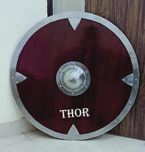 Medieval Armor Viking Round Brown wooden Shield with silver boss