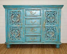 Blue Carved Shabby Chic French Country Sideboard Hall Cabinet Buffet Storage