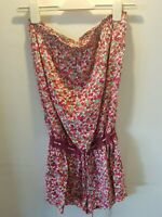 UK 12 NEXT RED FLORAL PLAYSUIT TOWIE/SUMMER/CLUB/FESTIVAL/BEACH/BOHO/HOLIDAY/LUV