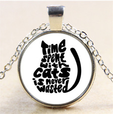 Time and Cat Photo Cabochon Glass Tibet Silver Chain Pendant Necklace