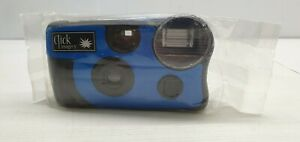Retro Click imagery flash one time use film camera unused film expired blue