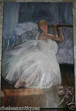 ORIGINALE dipinto ad olio su tela ritratto Ballerina Balletto Abito Tutù Bianco Bar
