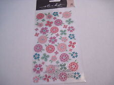 Scrapbooking Crafts Stickers Sticko Flower Tropics Round Pink Aqua Flowers Flat