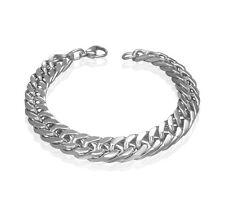 Men's Curb Silver Link Stainless Steel Bracelet CZA031