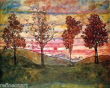 Egon Schiele Four Trees Giclee Canvas Print