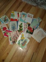 Lot Of 74 Assorted Antique Greeting Cards Used From The 40s And 50s Plus A...