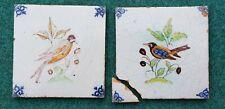 Lot of 2 Antique 19th C. Dutch Delft Blue Polychrome Bird Tile  Oxhead Corners