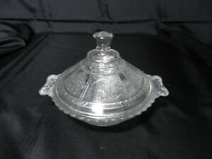 """Bryce EAPG Paneled Forget-Me-Not Covered Butter Dish Clear 7 1/4"""" D ca 1891"""