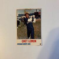 1978 Hostess Chet Lemon # 124 Chicago White Sox MLB Baseball Card Hand Cut