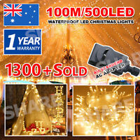 100M 500LED Warm White Waterproof Christmas Fairy String Lights Wedding Garden
