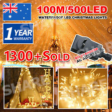 100M 500LED Warm White Waterproof Christmas Fairy String Lights Wedding Garden