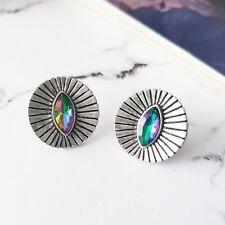 Round vintage boho silver & marquise mystic topaz stone stud earrings