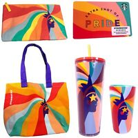 Starbucks Pride Lot Ceramic Tumbler Cold Cup Canvas Tote Pouch Gift Card Rainbow
